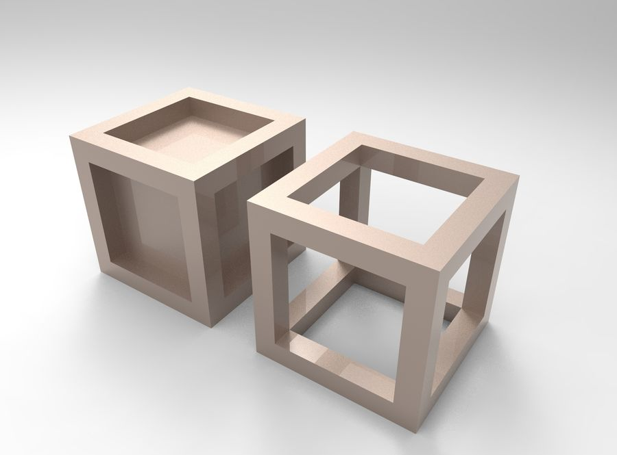 Cubo scatola incorniciato royalty-free 3d model - Preview no. 2