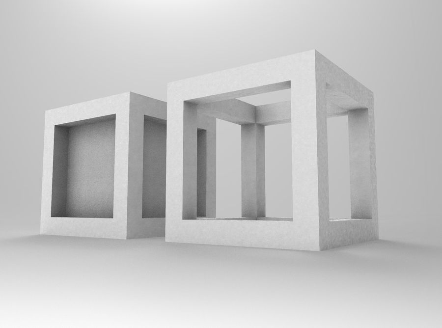Framed box cube royalty-free 3d model - Preview no. 5