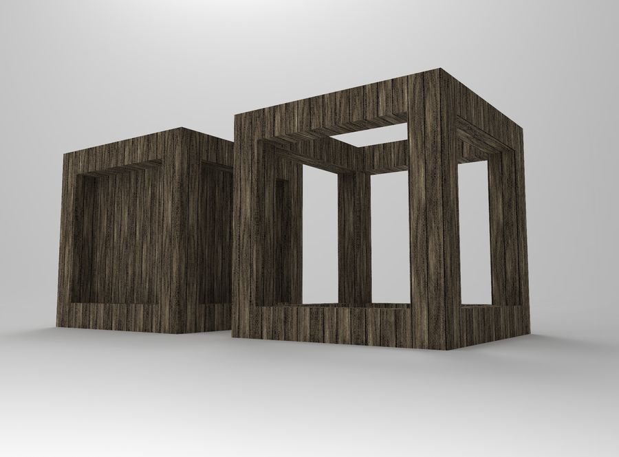 Framed box cube royalty-free 3d model - Preview no. 4