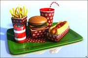 Fast Food Cartoon 3d model