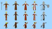pacote de personagens medievais lowpoly 3d model