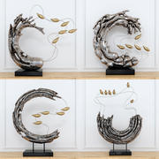 Abstract resin sculpture with birds 3d model