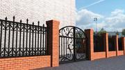 Bricks and iron fence 3d model