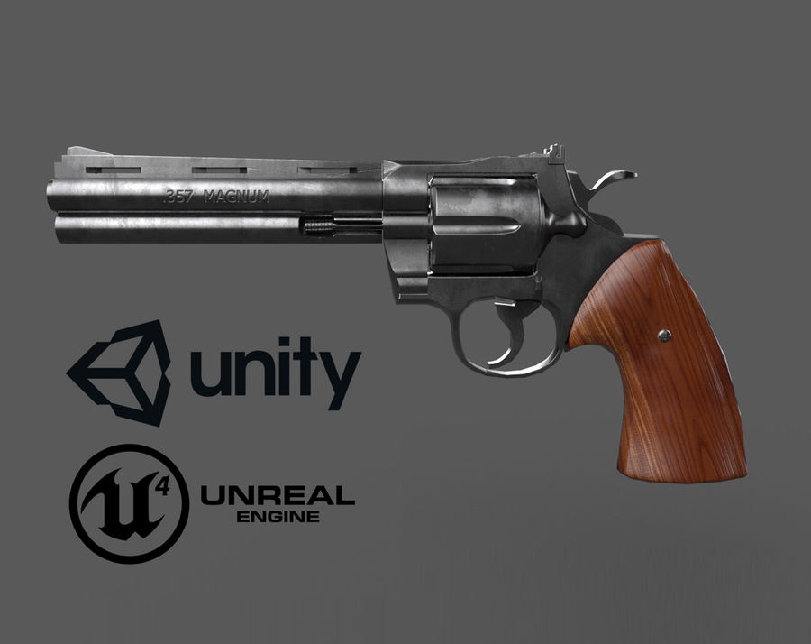 Magnum .357 royalty-free modelo 3d - Preview no. 2