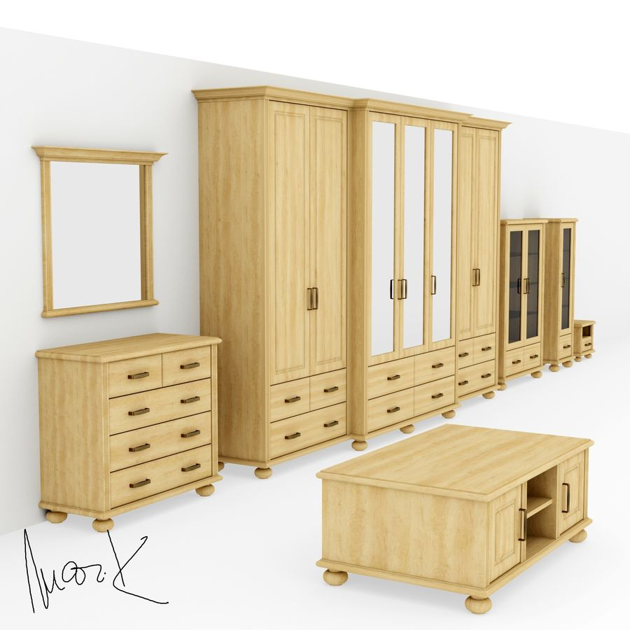 Living room, furniture royalty-free 3d model - Preview no. 1