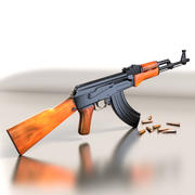 Ak47 med kulor 3d model