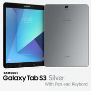 Samsung Galaxy Tab S3 Silver with S Pen and Keybord 3d model