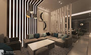 Contemporary Reception and living room with balcony 3d model