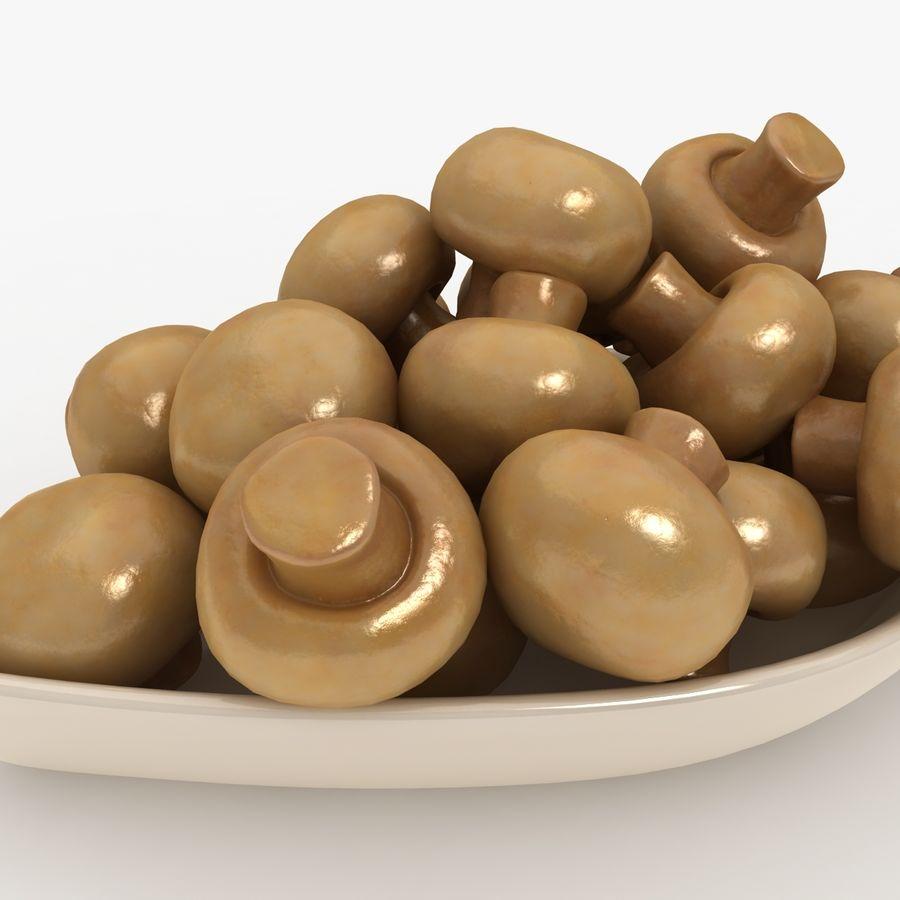 In Büchsen konservierte Pilze mit Platte royalty-free 3d model - Preview no. 3