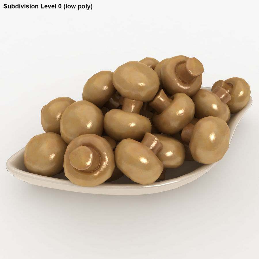In Büchsen konservierte Pilze mit Platte royalty-free 3d model - Preview no. 13