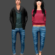 Jeans Male and Female 3d model