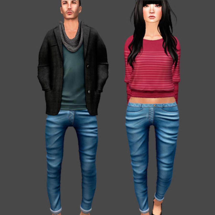 청바지 남성과 여성 royalty-free 3d model - Preview no. 1