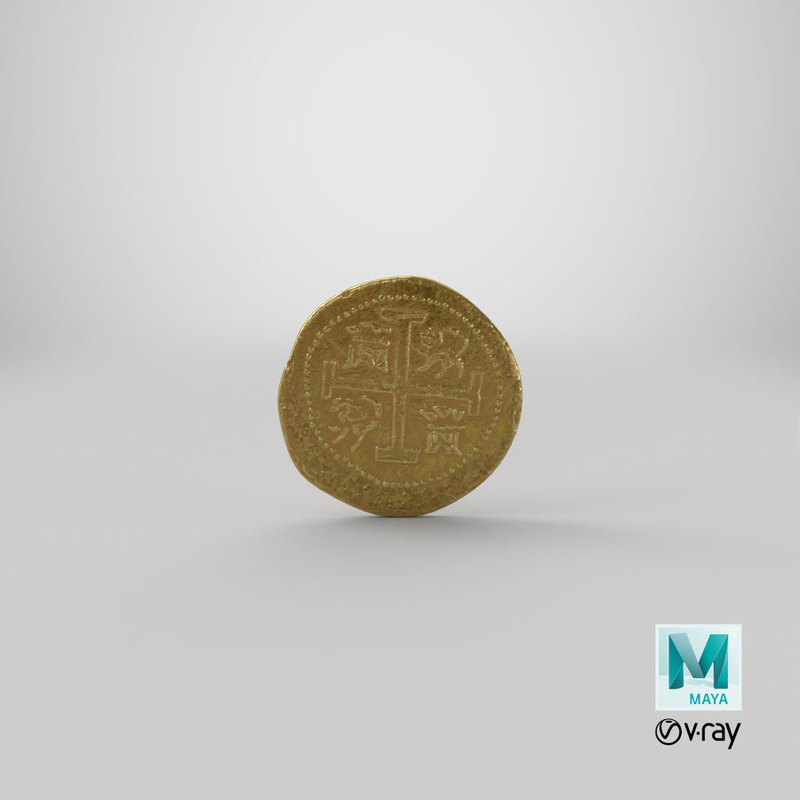 Gold Coin 01 royalty-free 3d model - Preview no. 21