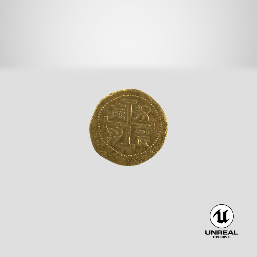 Gold Coin 01 royalty-free 3d model - Preview no. 26