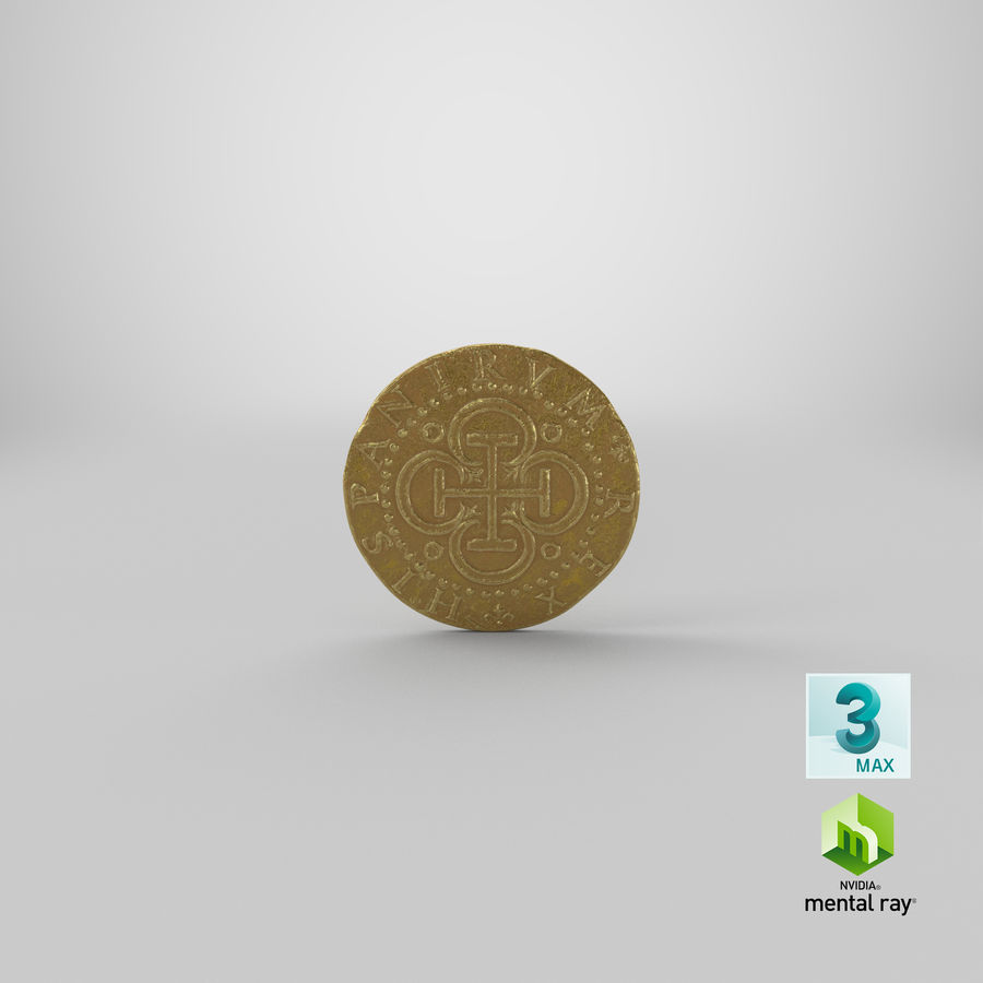 Gold Coin 02 royalty-free 3d model - Preview no. 24