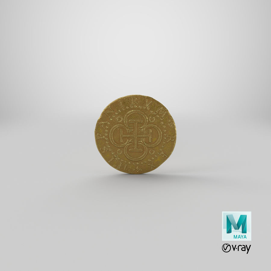 Gold Coin 02 royalty-free 3d model - Preview no. 21