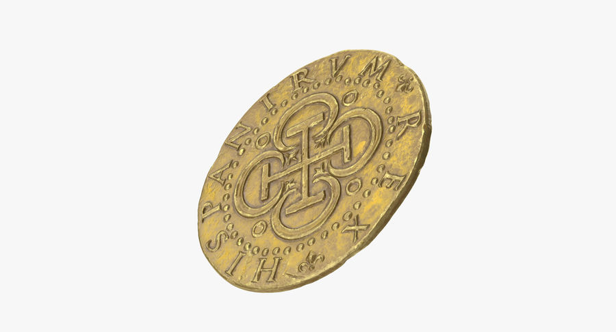 Gold Coin 02 royalty-free 3d model - Preview no. 8