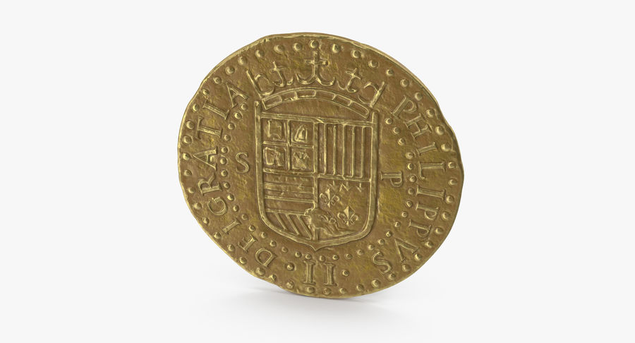 Gold Coin 02 royalty-free 3d model - Preview no. 7