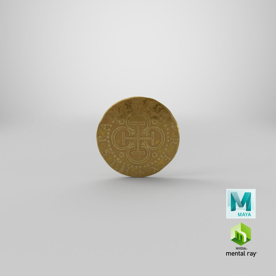 Gold Coin 02 royalty-free 3d model - Preview no. 22