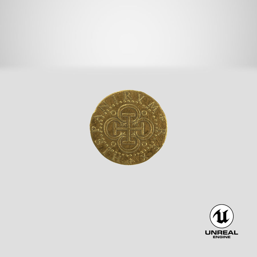 Gold Coin 02 royalty-free 3d model - Preview no. 26