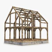 Construção de casa de estrutura de madeira 3d model