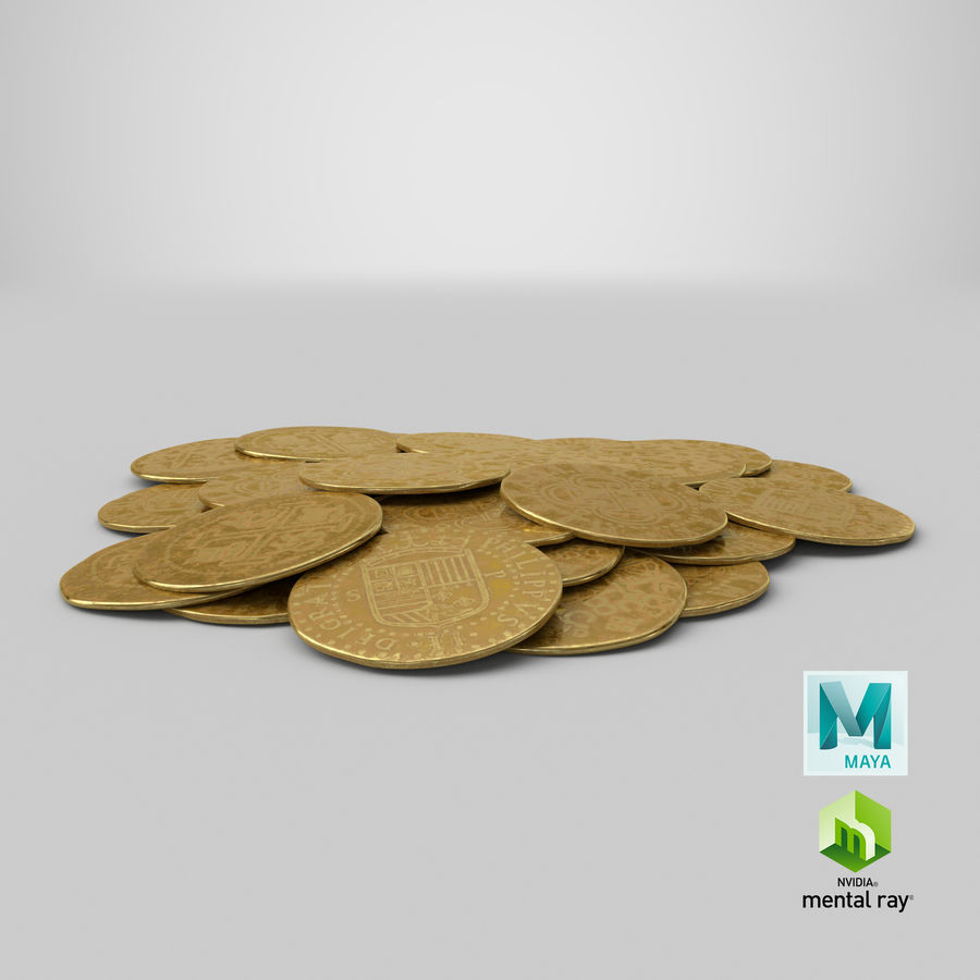 Gold Coins Pile royalty-free 3d model - Preview no. 22