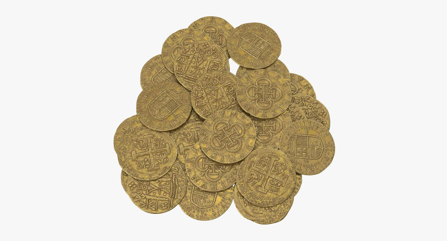 Gold Coins Pile royalty-free 3d model - Preview no. 2