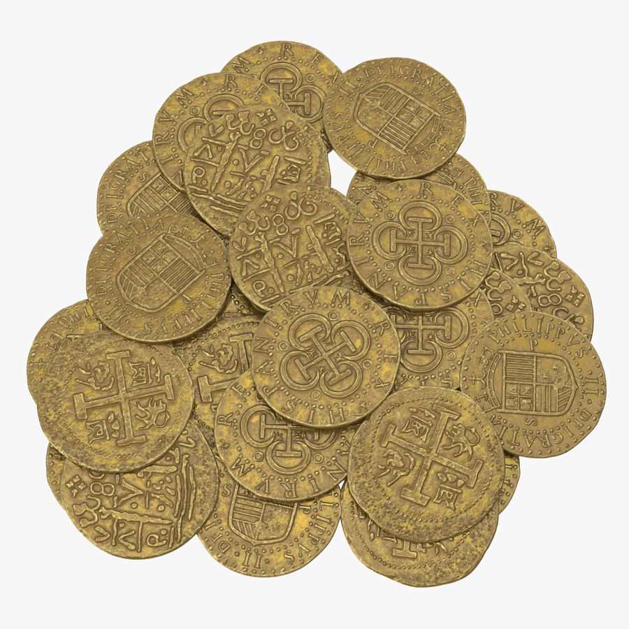 Gold Coins Pile royalty-free 3d model - Preview no. 1