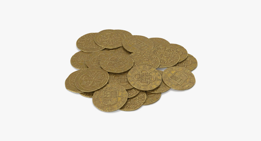Gold Coins Pile royalty-free 3d model - Preview no. 4