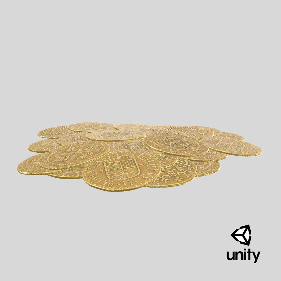 Gold Coins Pile royalty-free 3d model - Preview no. 25