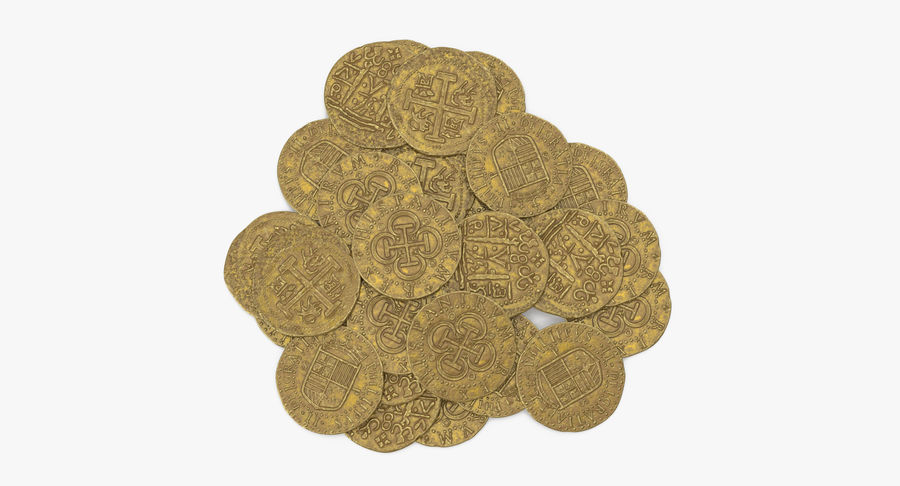Gold Coins Pile royalty-free 3d model - Preview no. 9