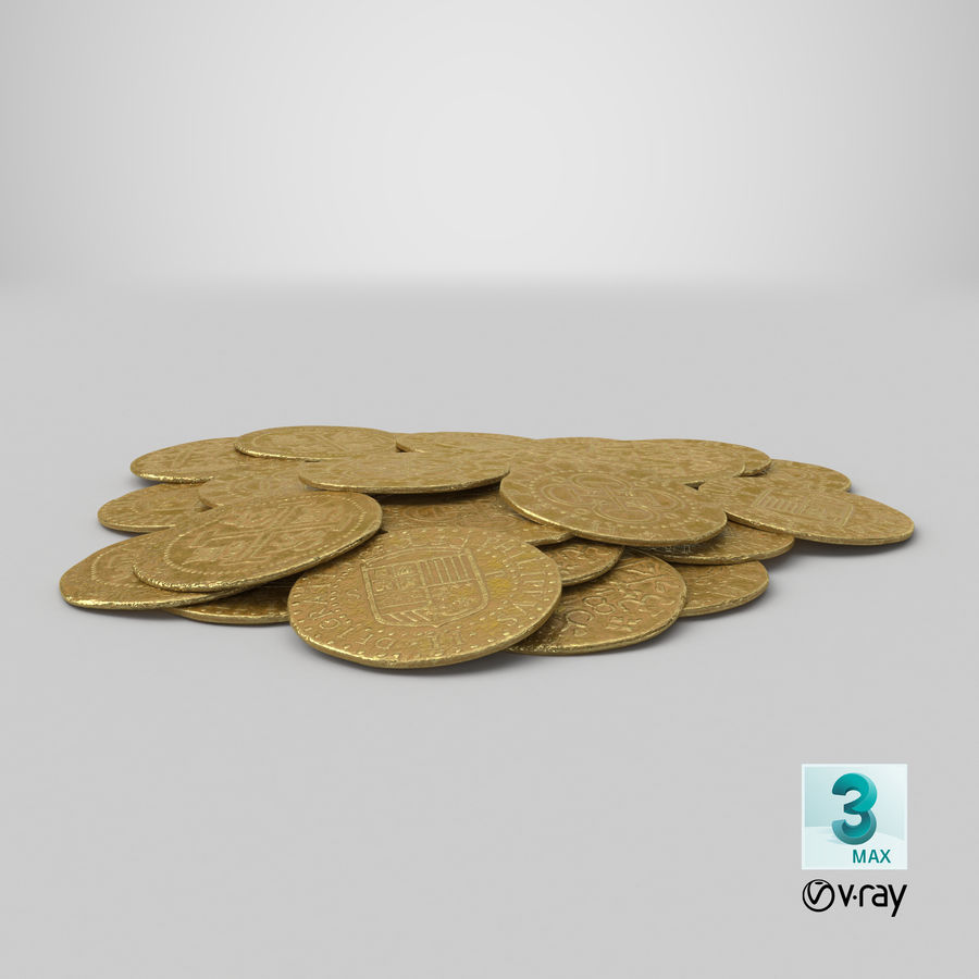 Gold Coins Pile royalty-free 3d model - Preview no. 23