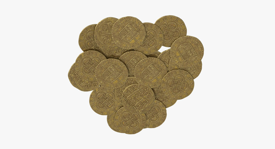Gold Coins Pile royalty-free 3d model - Preview no. 8