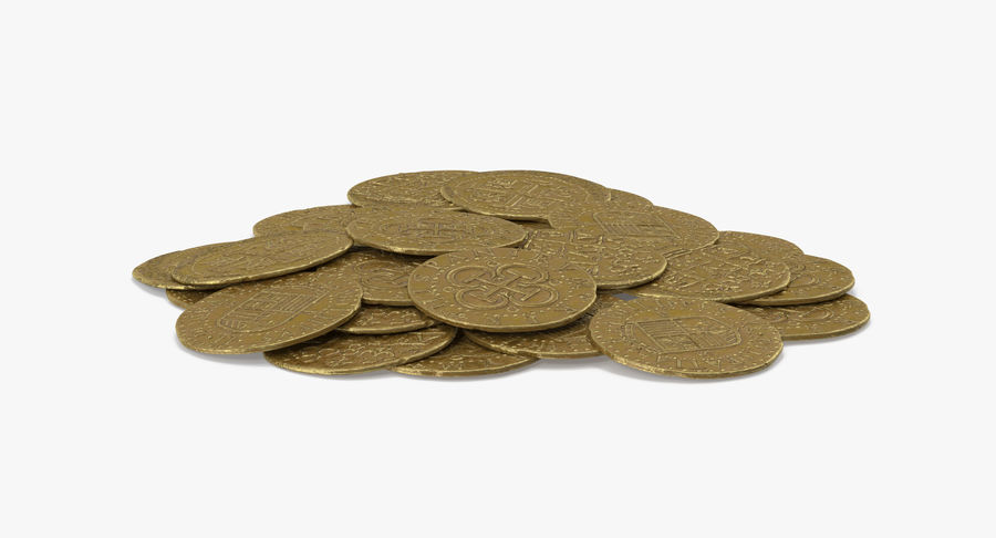 Gold Coins Pile royalty-free 3d model - Preview no. 7