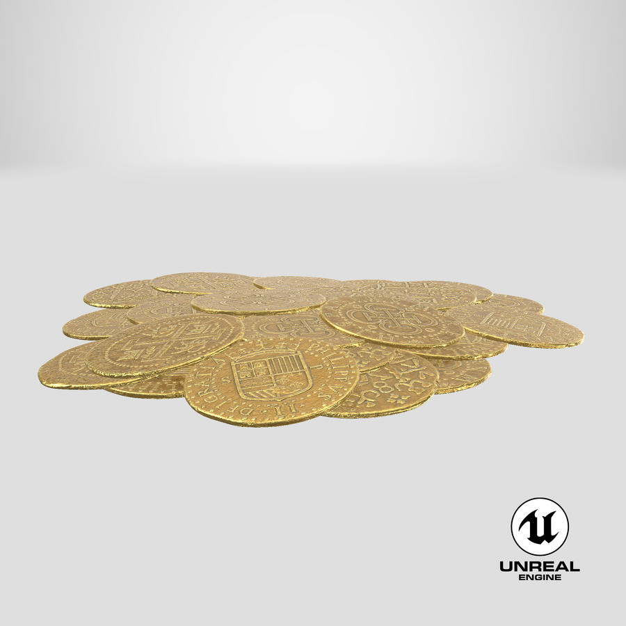 Gold Coins Pile royalty-free 3d model - Preview no. 26