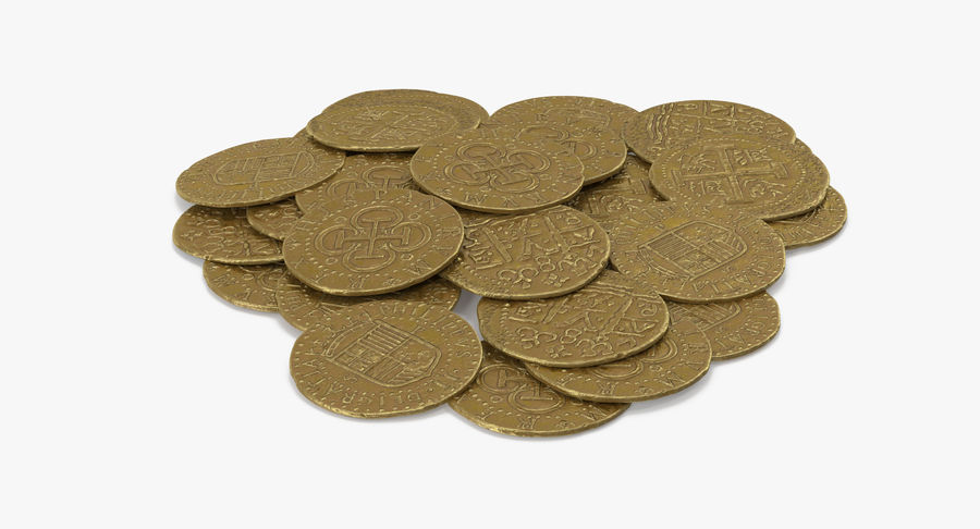 Gold Coins Pile royalty-free 3d model - Preview no. 6
