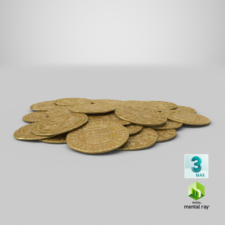 Gold Coins Pile royalty-free 3d model - Preview no. 24