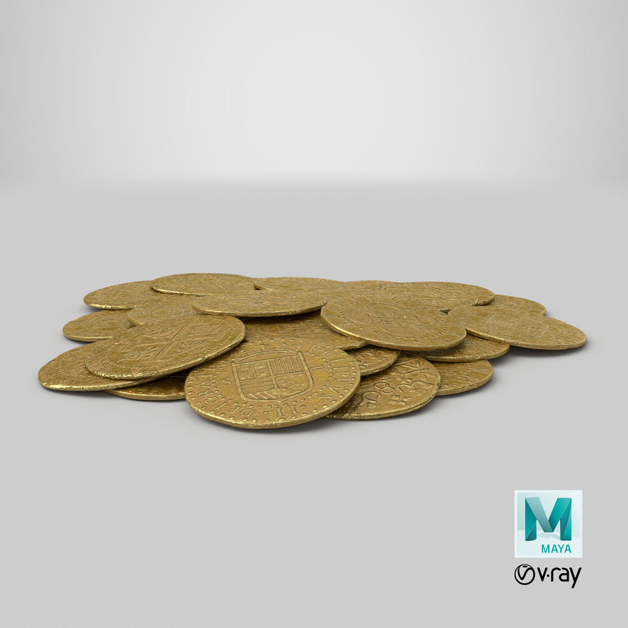 Gold Coins Pile royalty-free 3d model - Preview no. 21