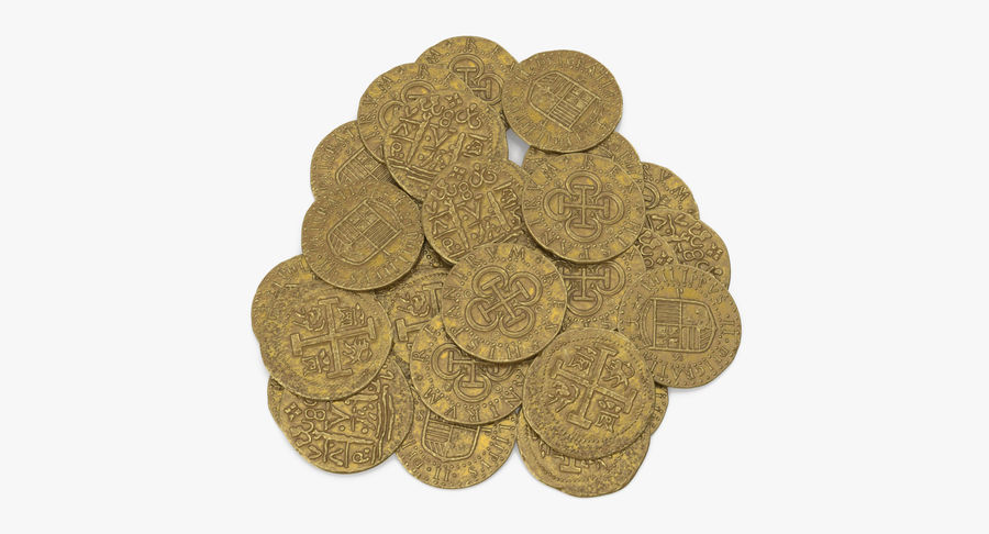 Gold Coins Pile royalty-free 3d model - Preview no. 3