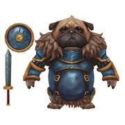 Pug Knight El Boyalı Karakter 3d model