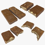 Realistic Chocolate Wafer Quarter Bar Collection 3d model