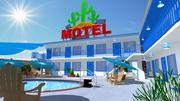 Motel con piscina modelo 3d