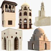 Collection de bâtiments arabes islamiques 3d model