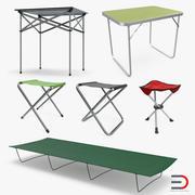 Коллекция столов и стульев для кемпинга 3d model