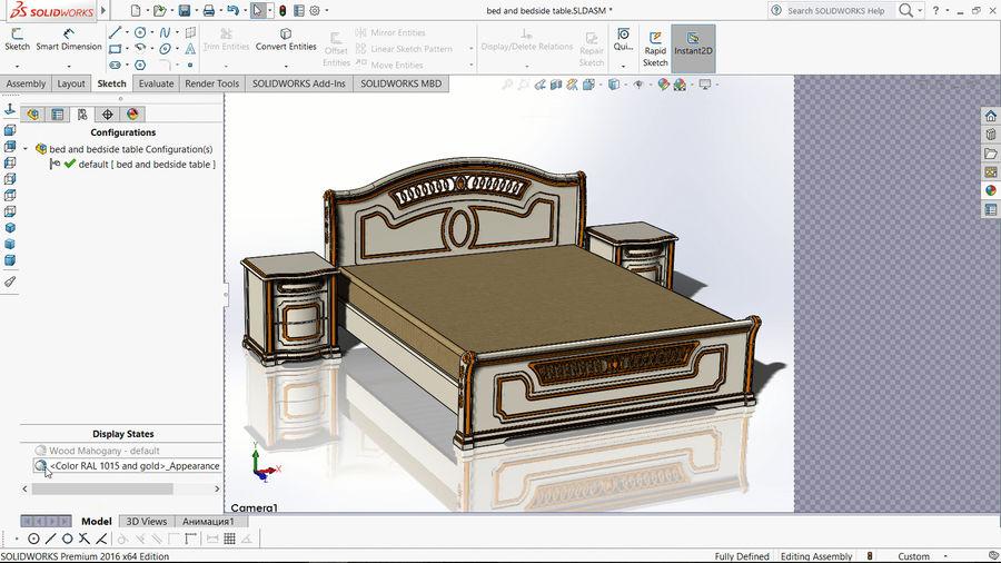 Bett und Nachttisch royalty-free 3d model - Preview no. 14