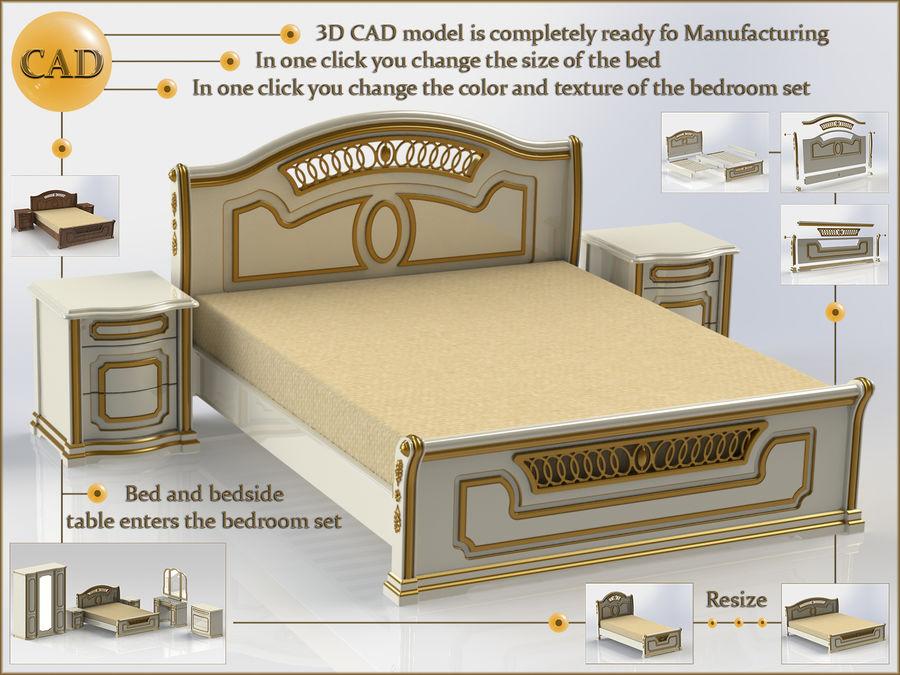 Bett und Nachttisch royalty-free 3d model - Preview no. 1