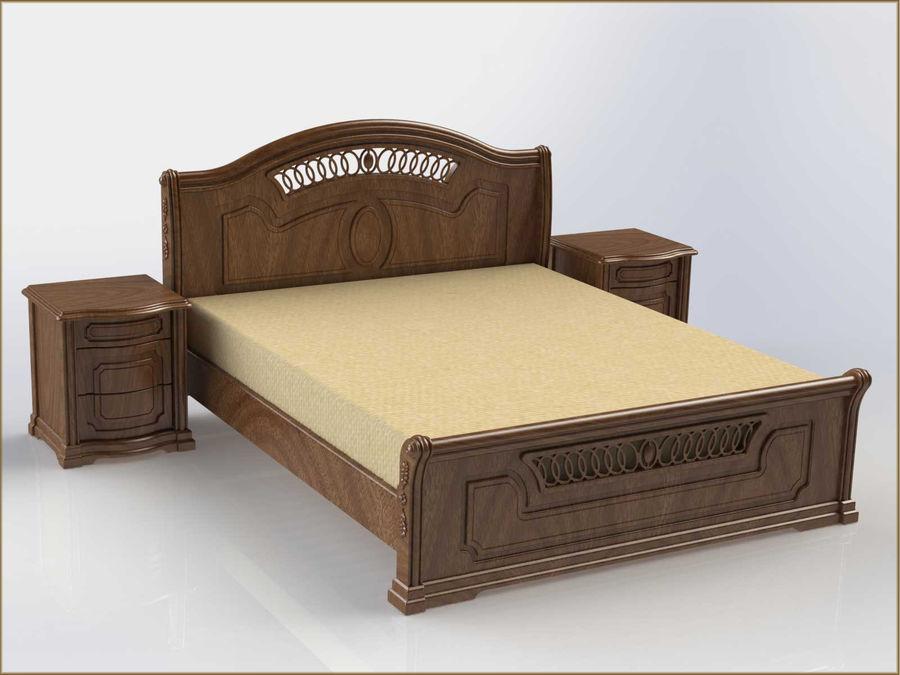 Bett und Nachttisch royalty-free 3d model - Preview no. 2
