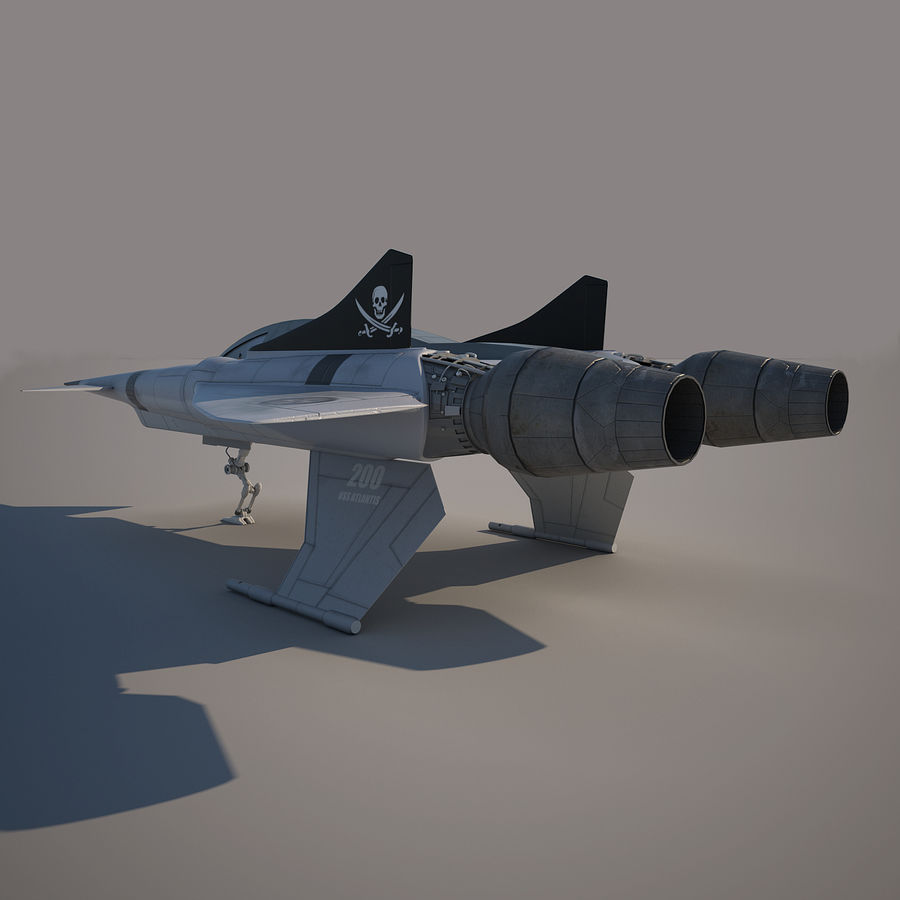 Thunder fighter royalty-free 3d model - Preview no. 4