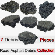 Gerçekçi asfalt enkaz parçası koleksiyonu 3d model