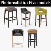 Five Photorealistic Leather Barstool Collection-2 For Restaurant 3d model